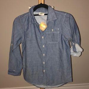NWT boys denim look button down shirt medium (7-8)